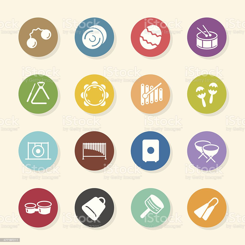 Percussion Music Icons - Color Circle Series vector art illustration