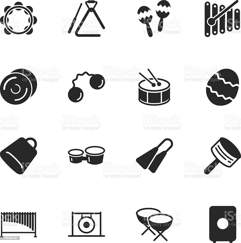 Percussion Music Silhouette Icons vector art illustration