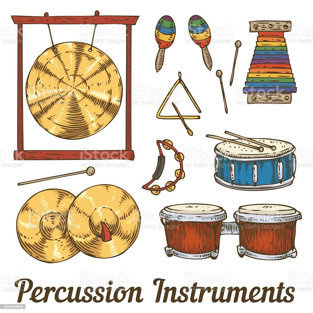 Percussion Musical Instruments vector art illustration