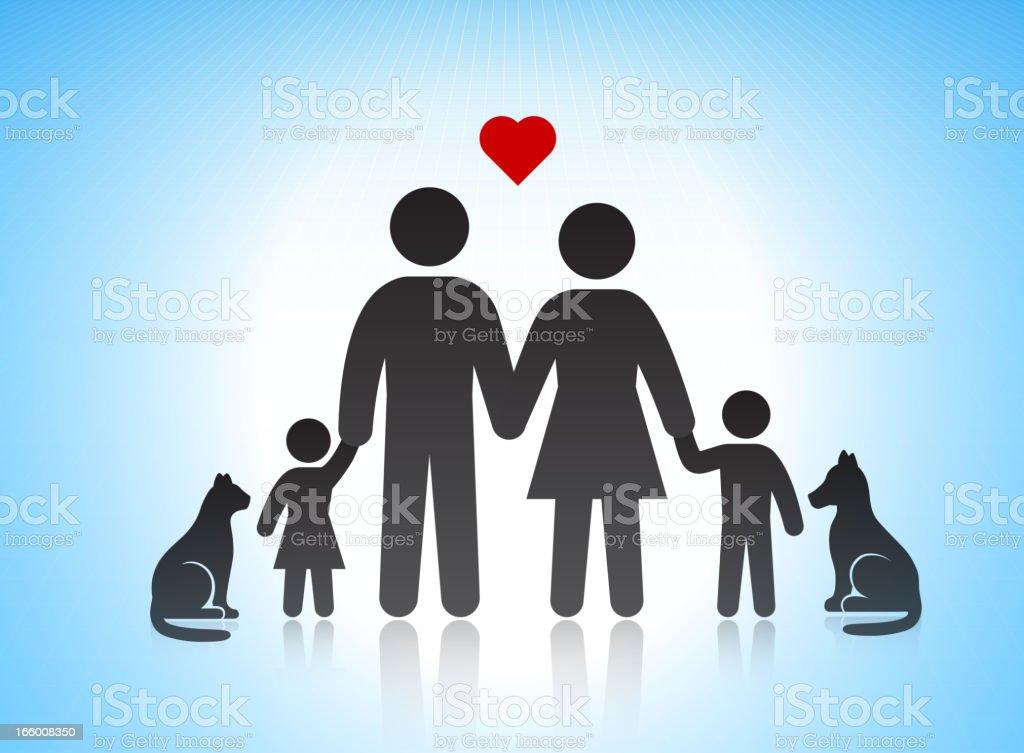Perfect Loving Family Stick Figures vector art illustration