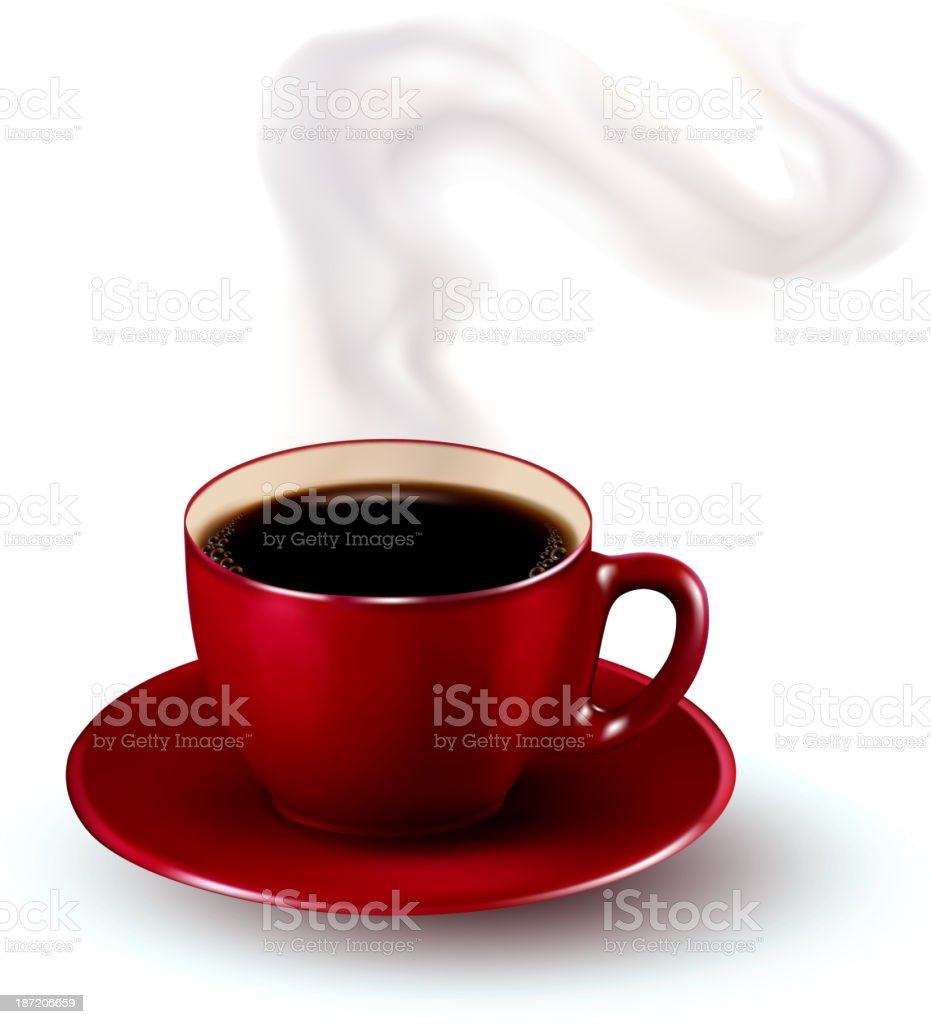 Perfect red cup of coffee with steam. royalty-free stock vector art