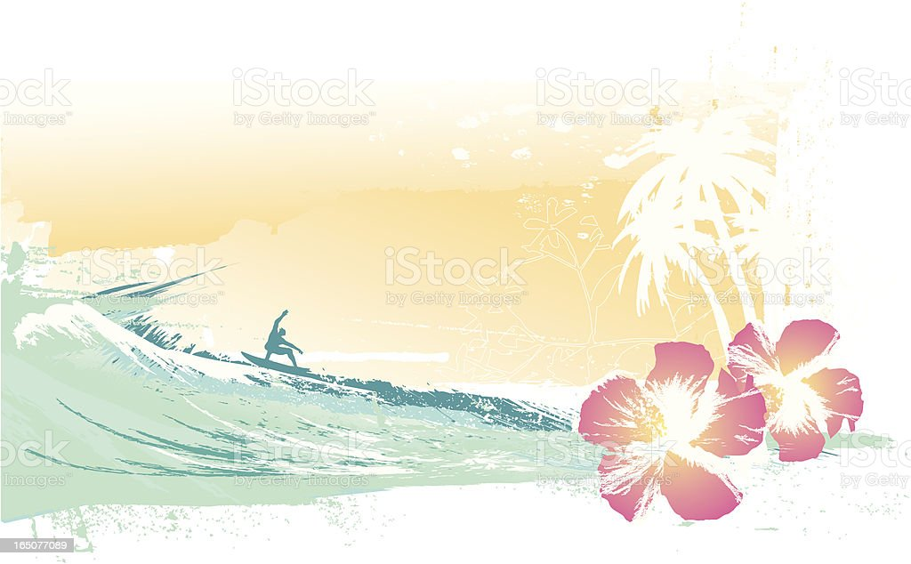 perfect wave in heaven vector art illustration