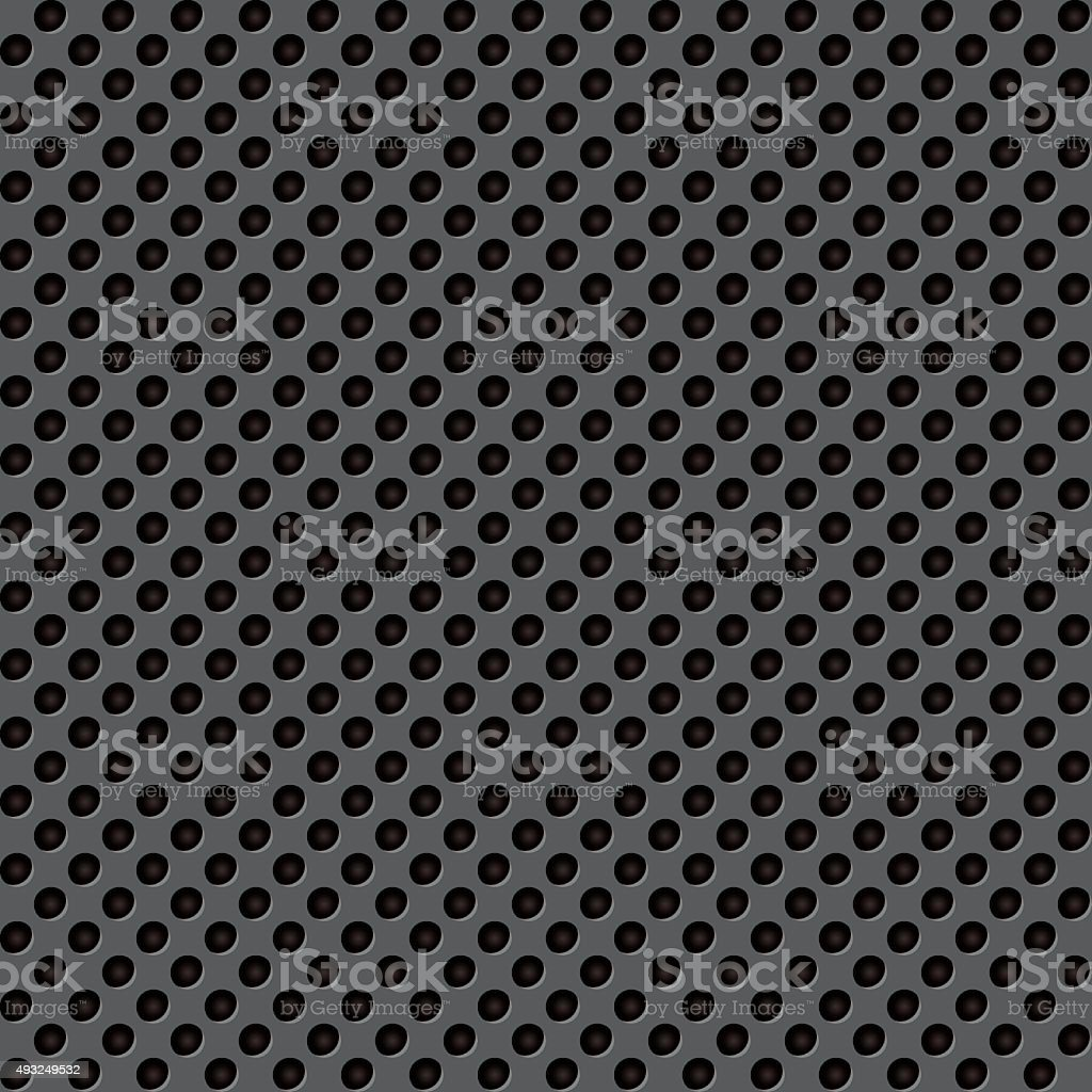 Perforated black surface vector art illustration