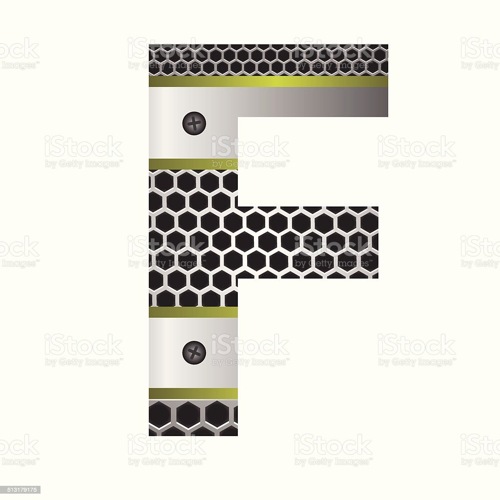 perforated metal letter F vector art illustration