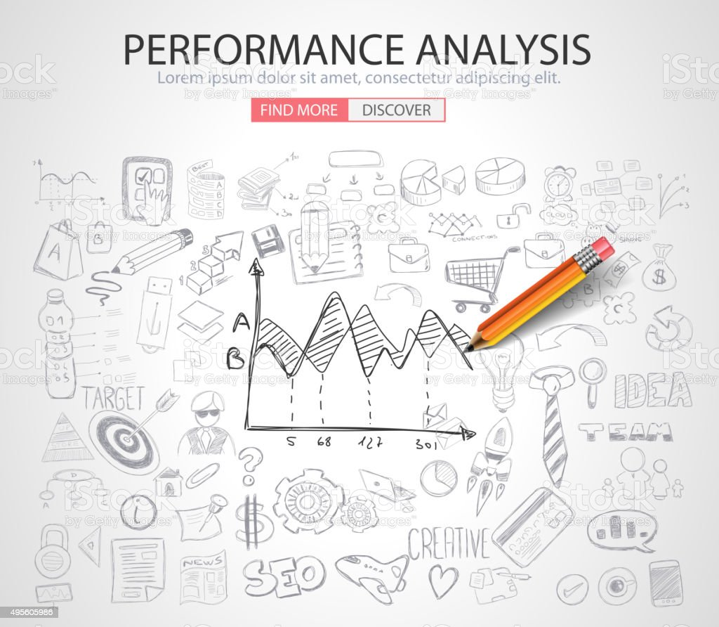 Performance Analysis concet with Doodle design style vector art illustration