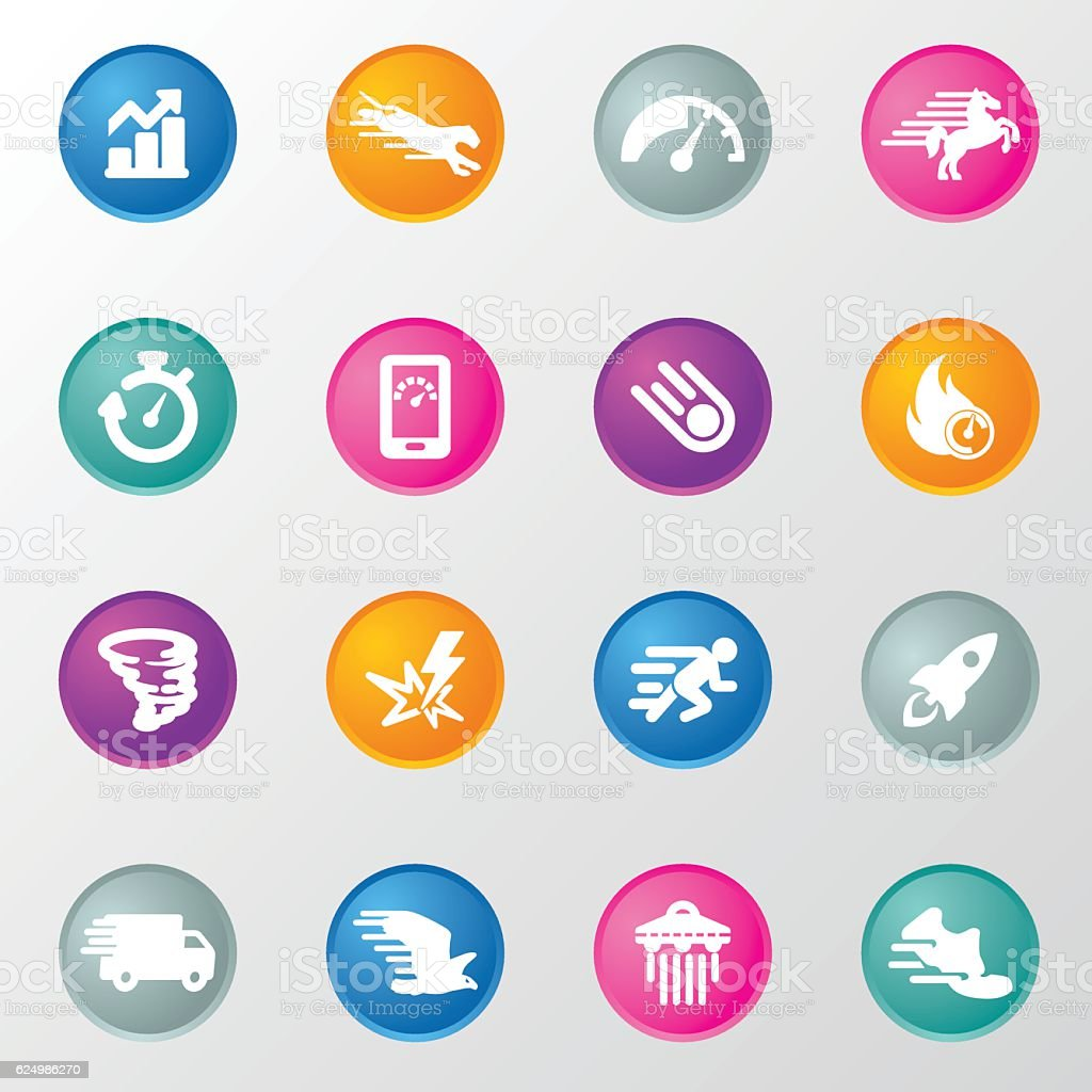 Performance Circle Color Icons vector art illustration