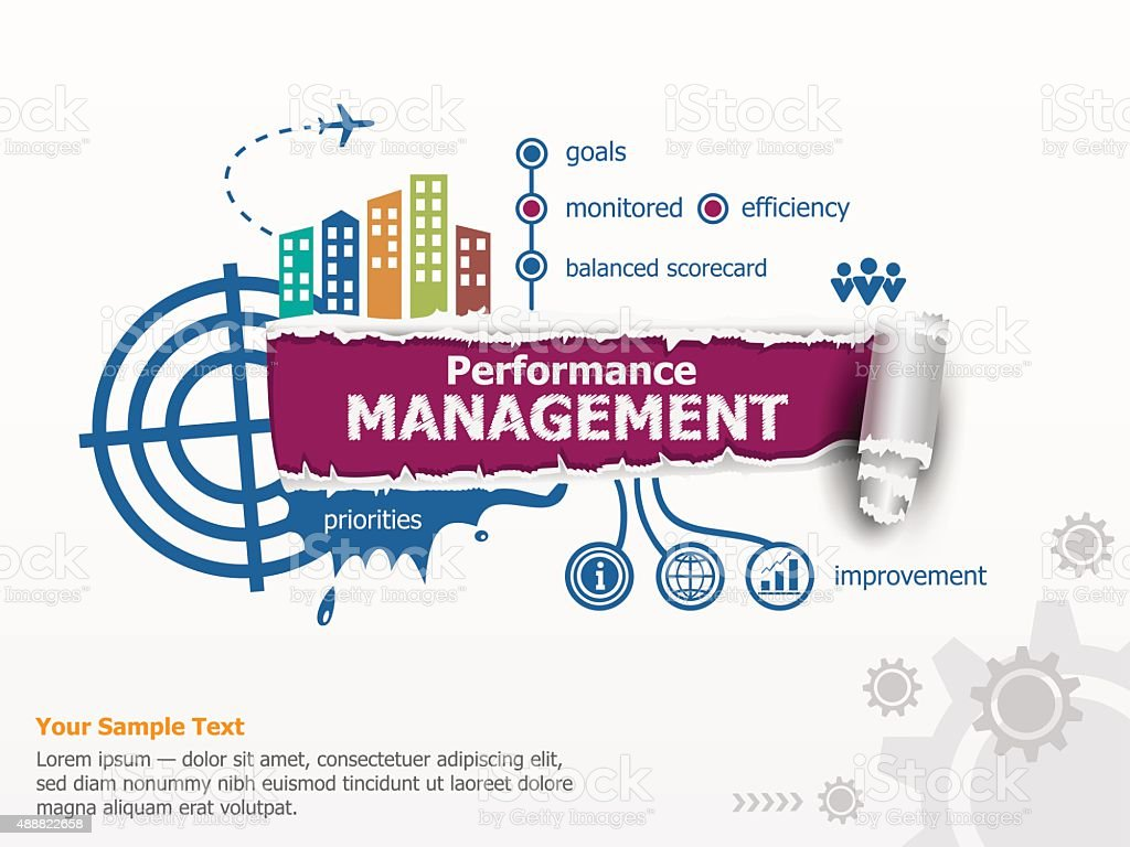 Performance management and breakthrough paper hole vector art illustration