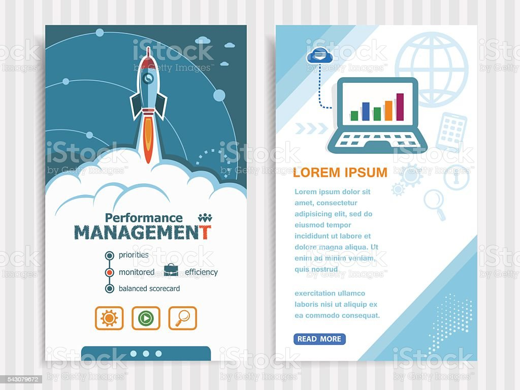 Performance management and concept background with rocket. vector art illustration
