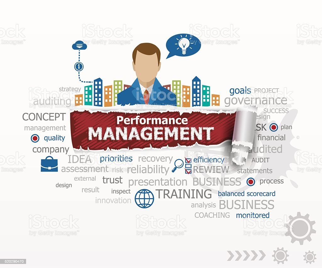 Performance management concept and business man. vector art illustration