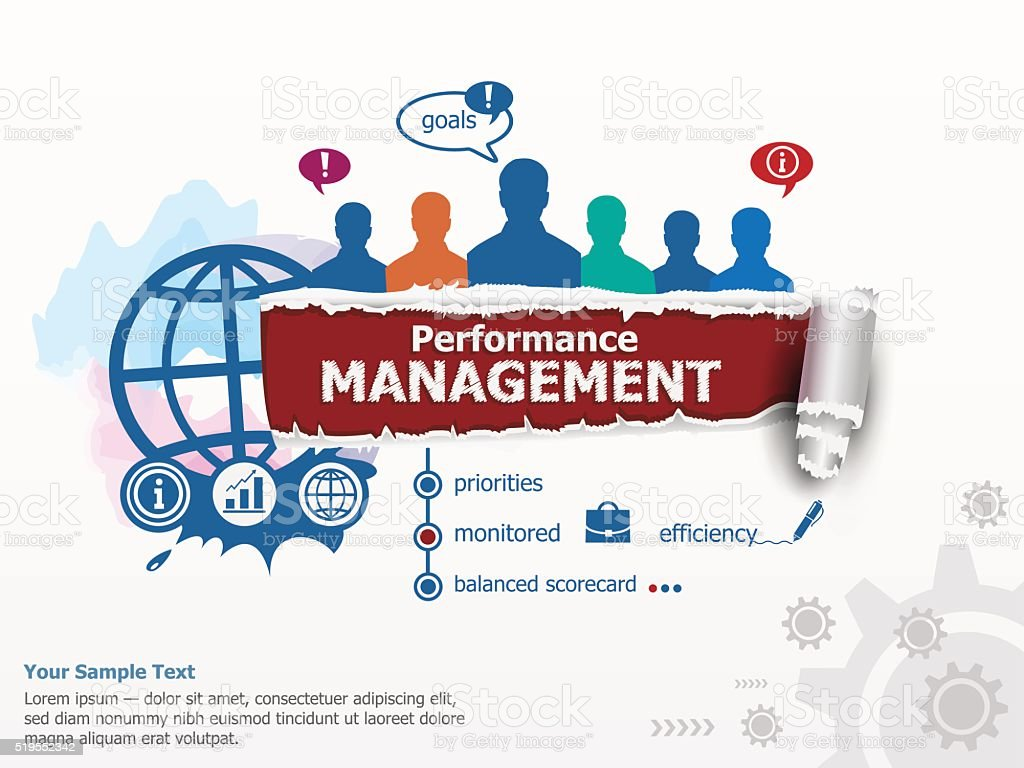 Performance management concept and group of people. vector art illustration