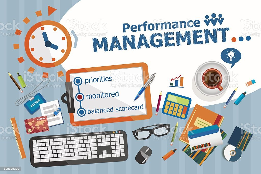 Performance management design concept. Typographic poster. vector art illustration