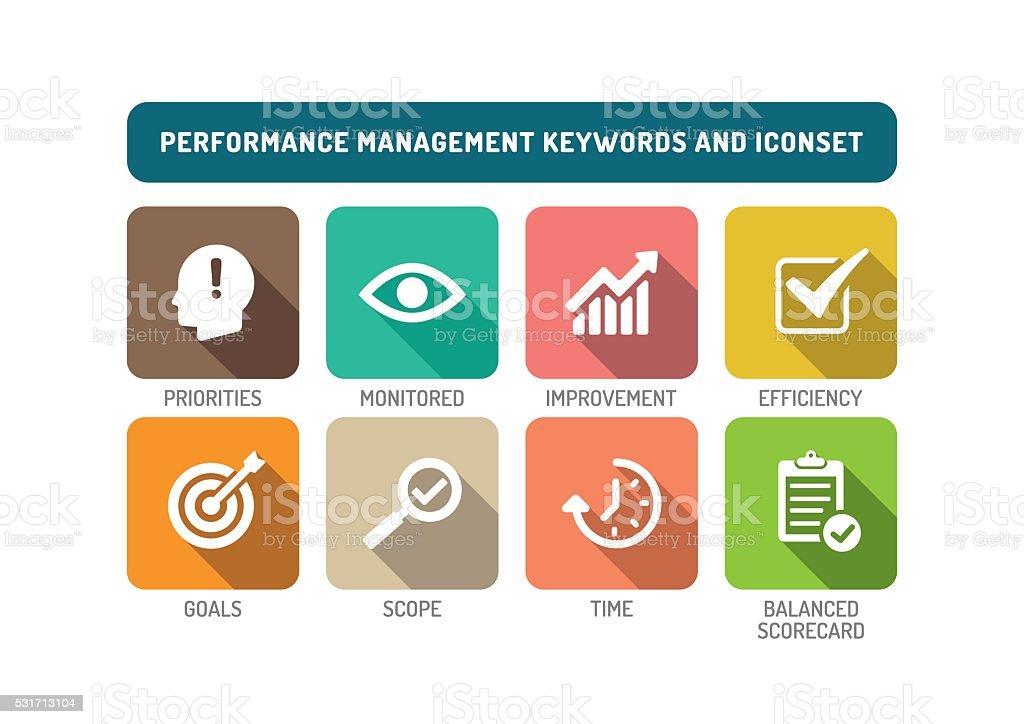 Performance Management Flat Icon Set vector art illustration