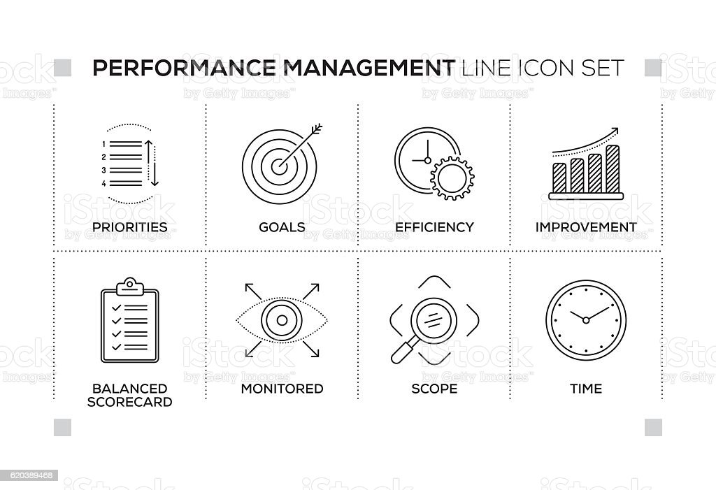 Performance Management keywords with monochrome line icons vector art illustration