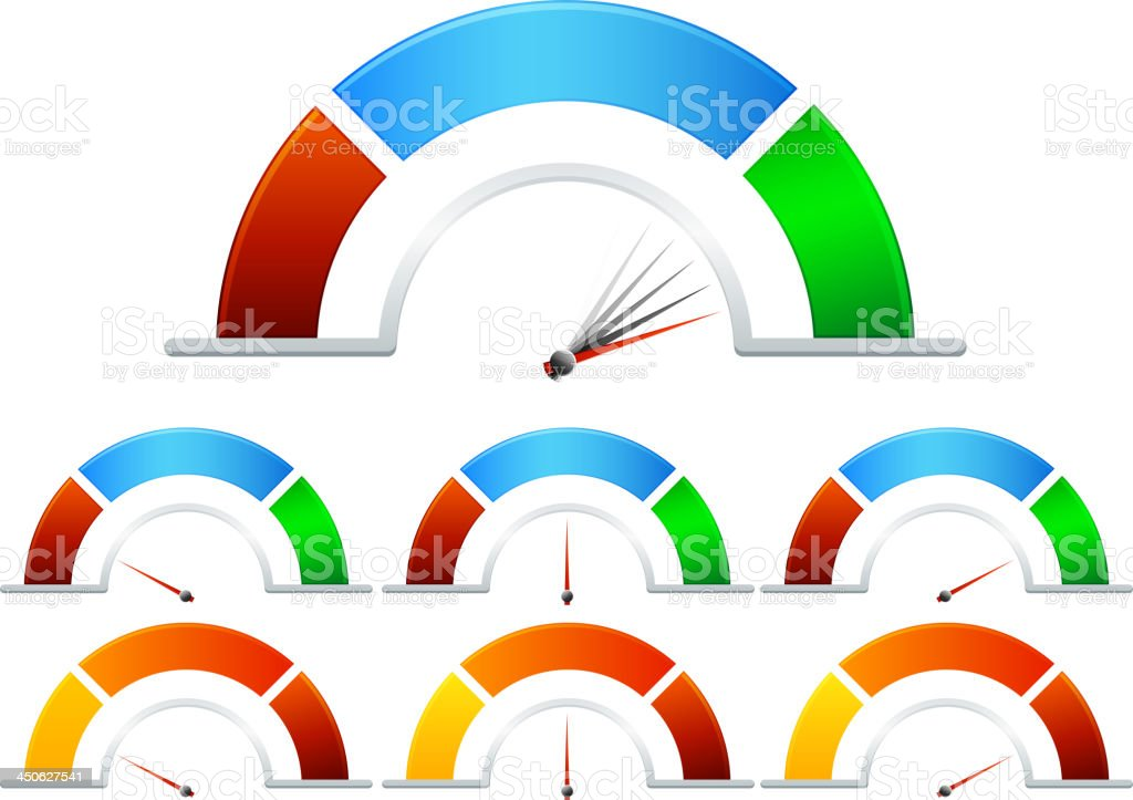 Performance meters in multiple colors vector art illustration