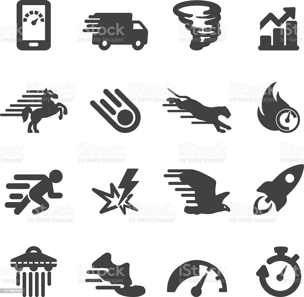 Performance Speed and Fast Silhouette Icons | EPS10 vector art illustration