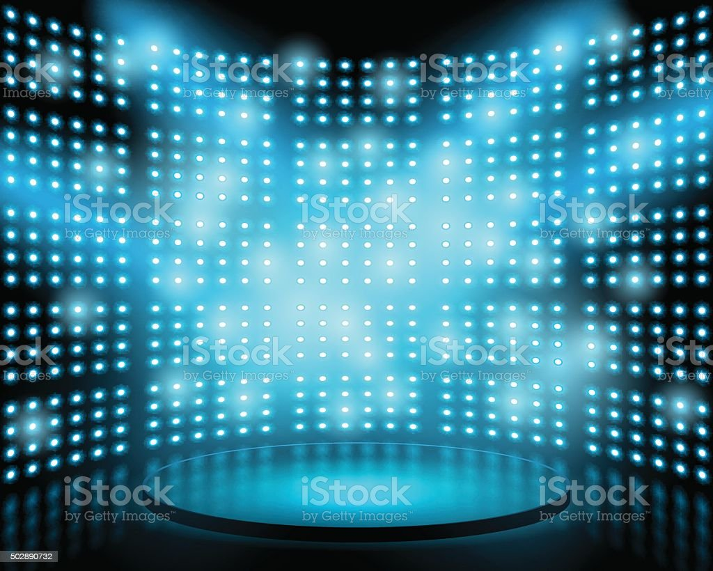 Performance stage with lightbulb glowing backdrop wall vector art illustration