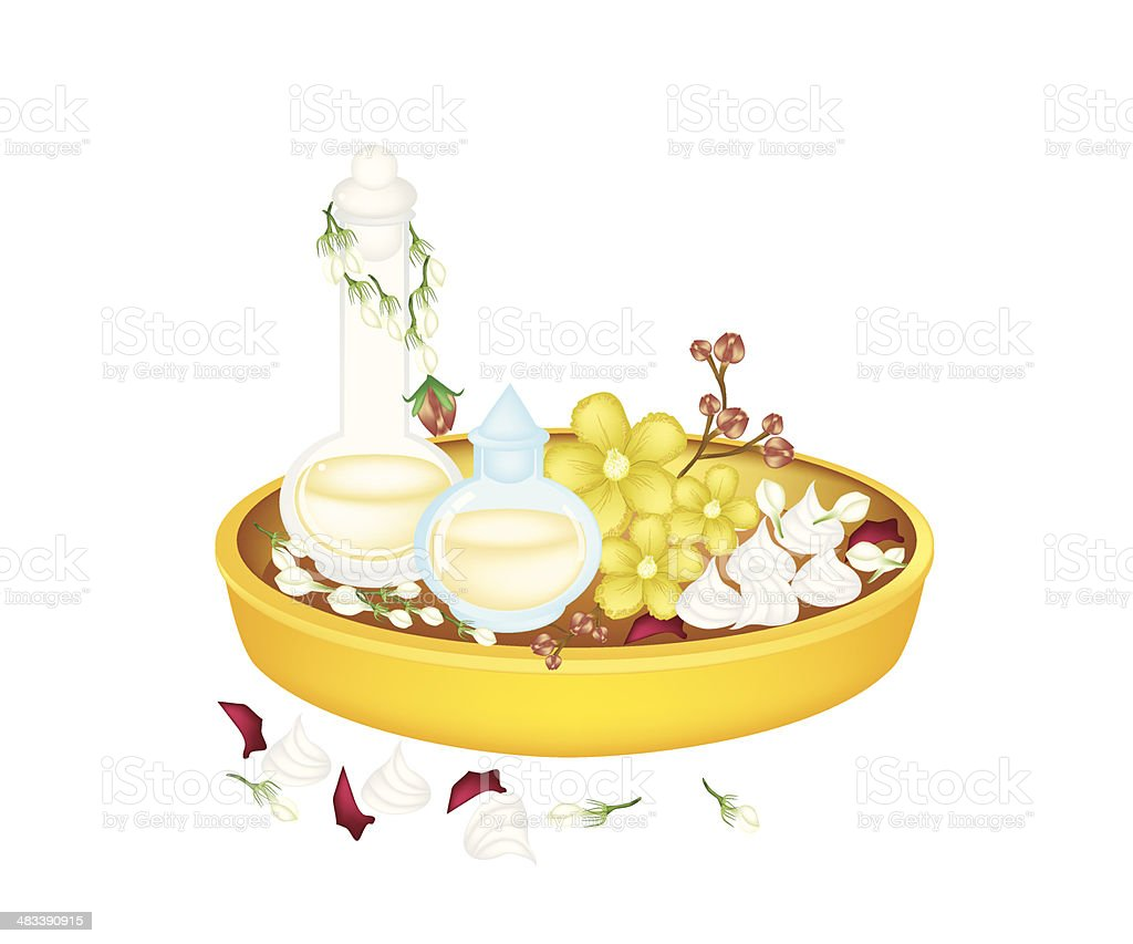 Perfume and Flower in Golden Tray for Songkran Festival vector art illustration