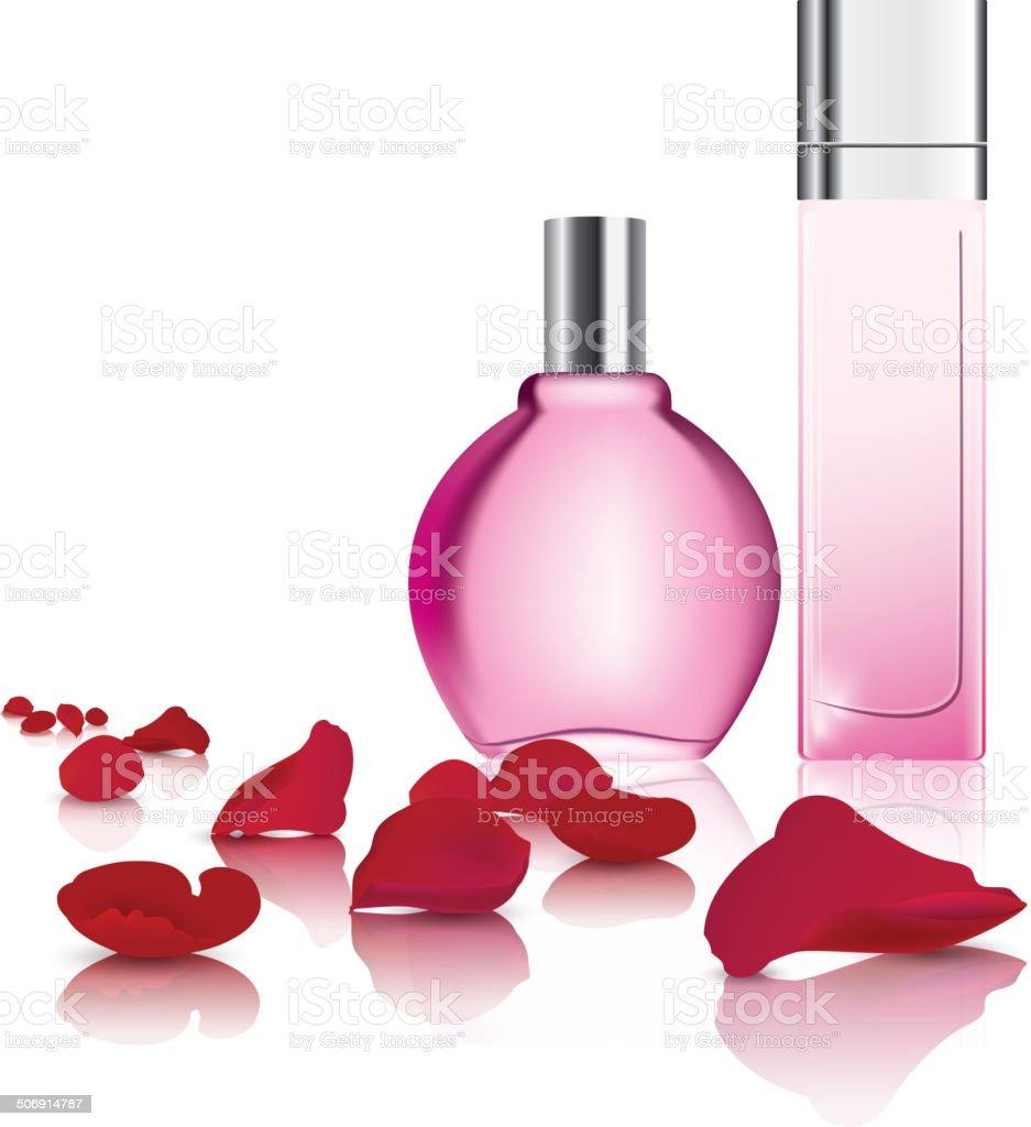 Perfume and rose petal vector art illustration