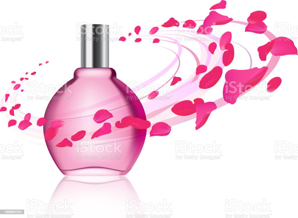 Perfume and rose petals vector art illustration