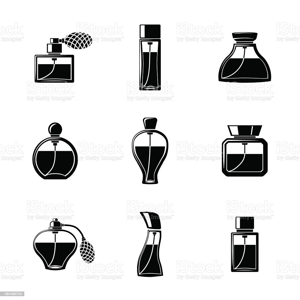 Perfume icons set with different shapes of bottles. vector vector art illustration