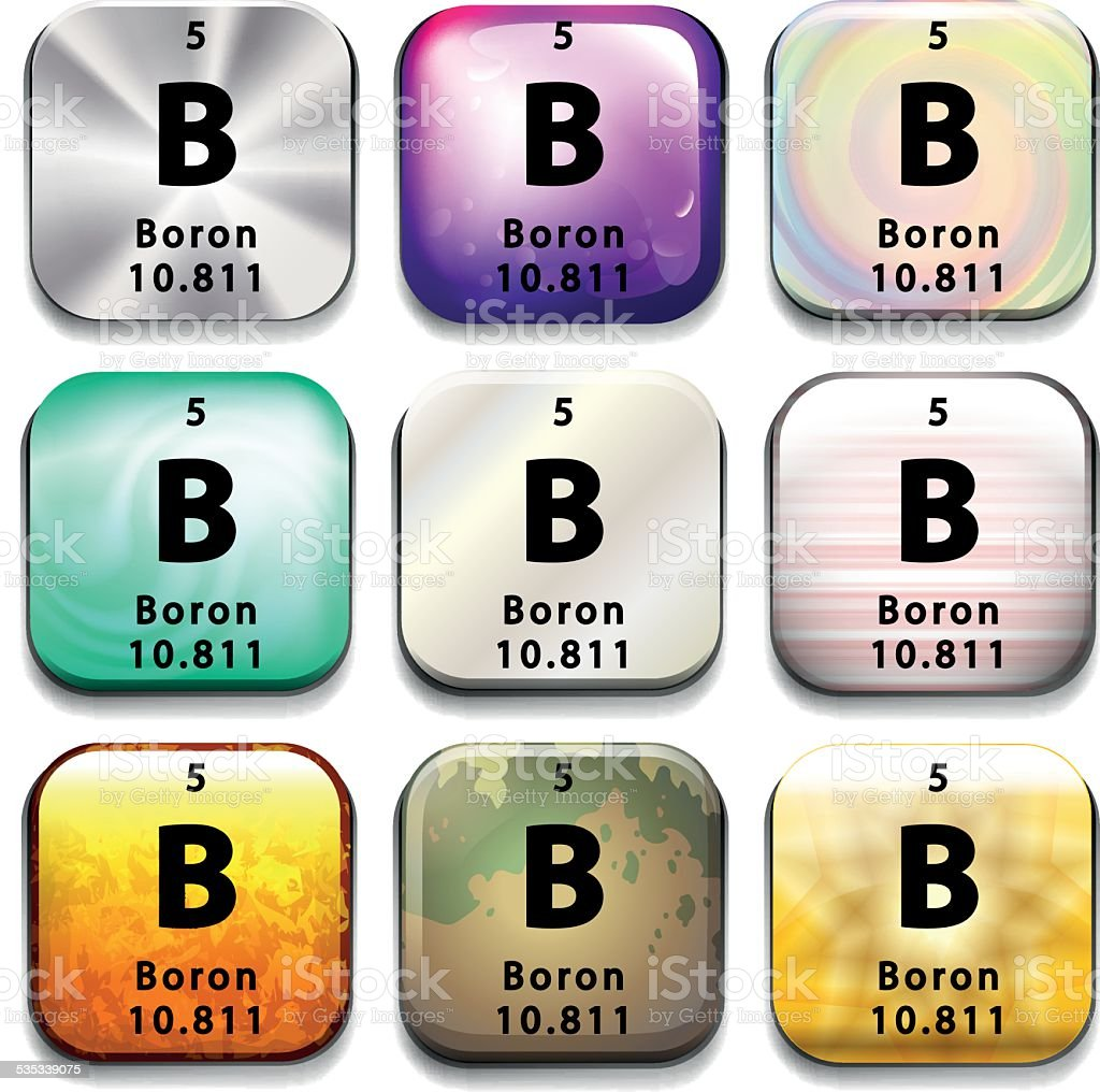 Periodic table button showing Boron vector art illustration