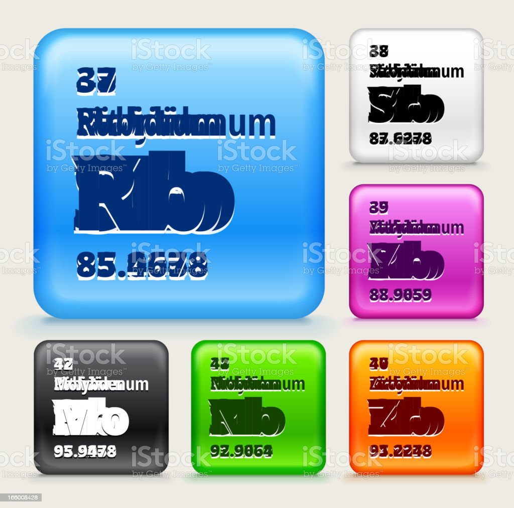 Periodic Table Elements (37-42) on Color Buttons EPS10 Transparency vector art illustration