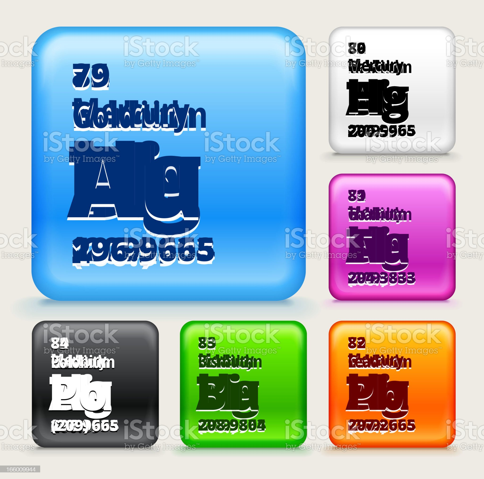 Periodic Table Elements (7nine-84) on Color Buttons royalty-free stock vector art
