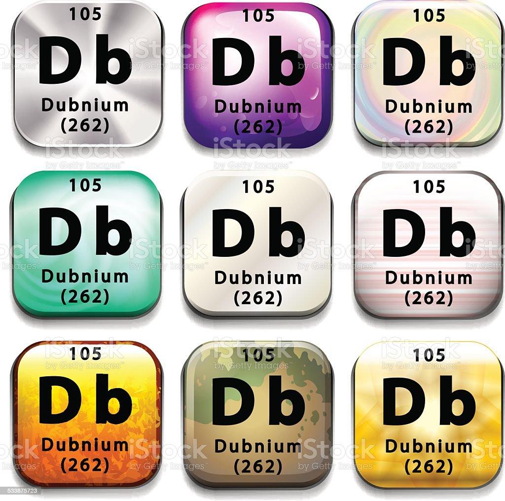 Periodic table showing Dubnium vector art illustration