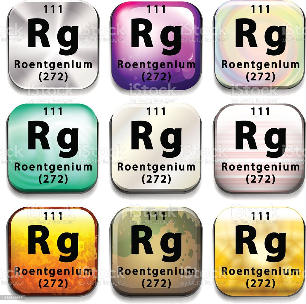 Periodic table showing Roentgenium vector art illustration