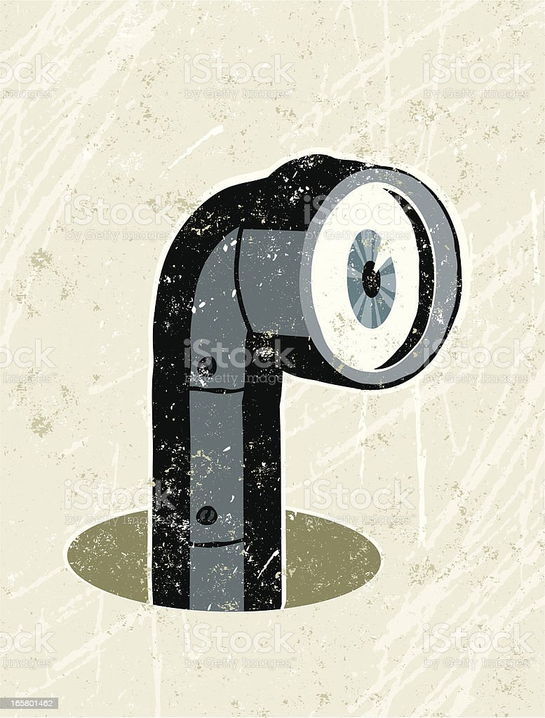 Periscope Peering Out of a hole vector art illustration