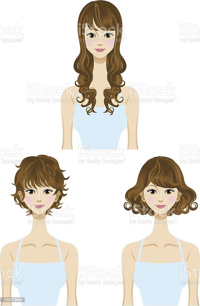 Perm hair  style set vector art illustration