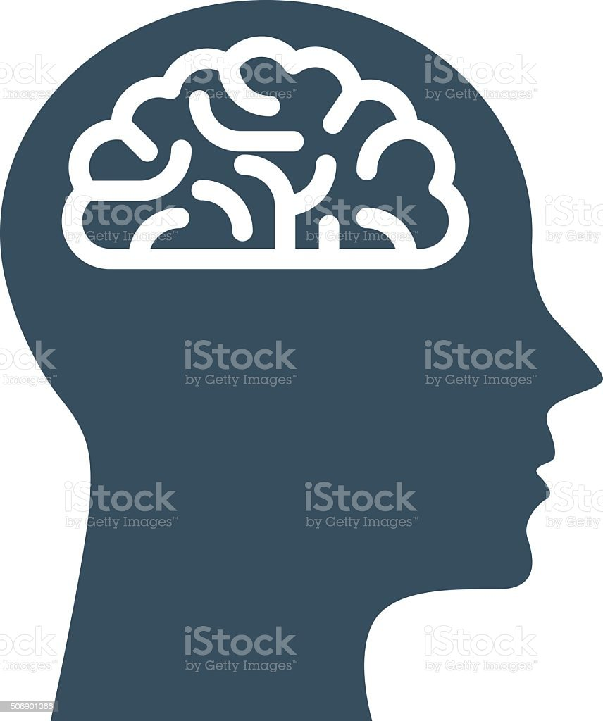 Peronal IQ - head with brain, intelligence and knowledge symbol vector art illustration