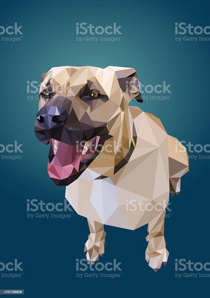 Perro sentado en low poly vector art illustration