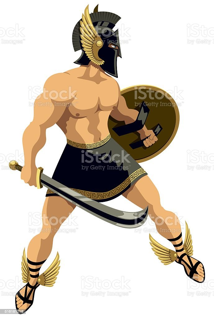 Perseus on White vector art illustration