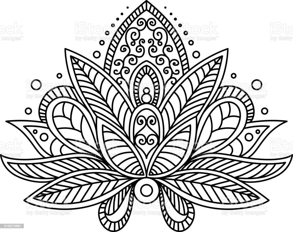 Persian or turkish paisley flower vector art illustration