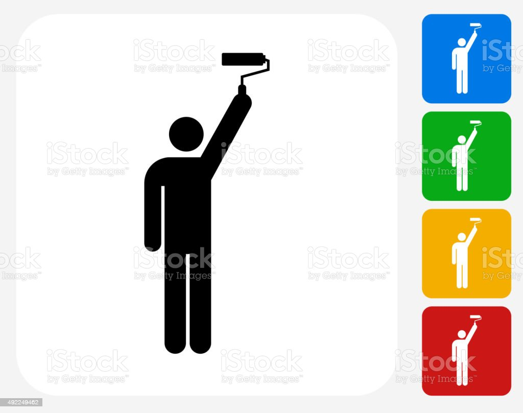 Person and Paint Roller Icon Flat Graphic Design vector art illustration