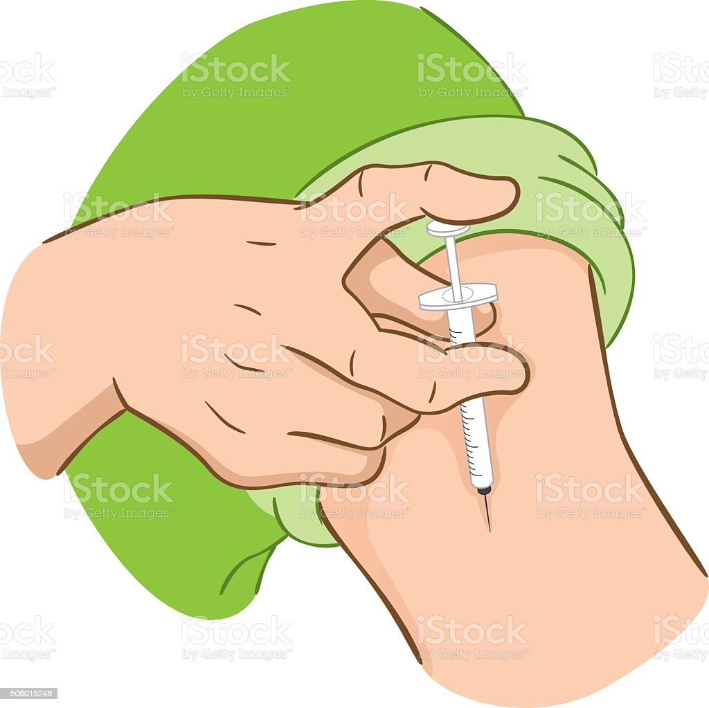 Person applying injection in arm vector art illustration