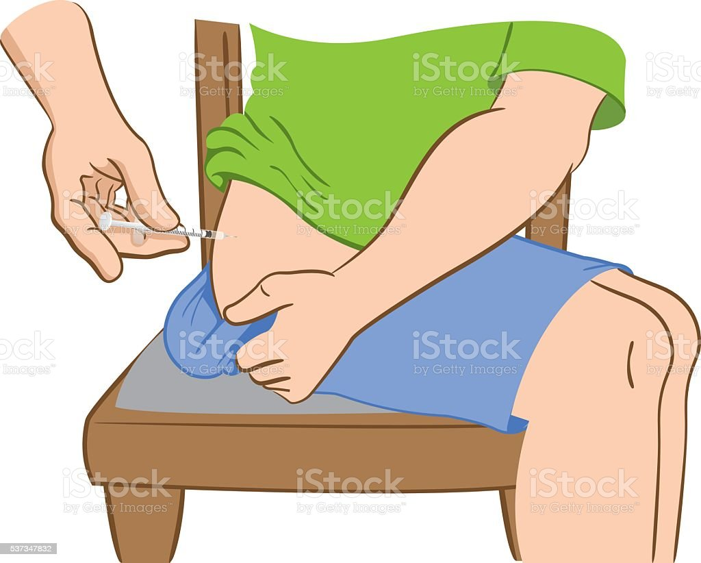 Person applying injection in the hip, lower back vector art illustration