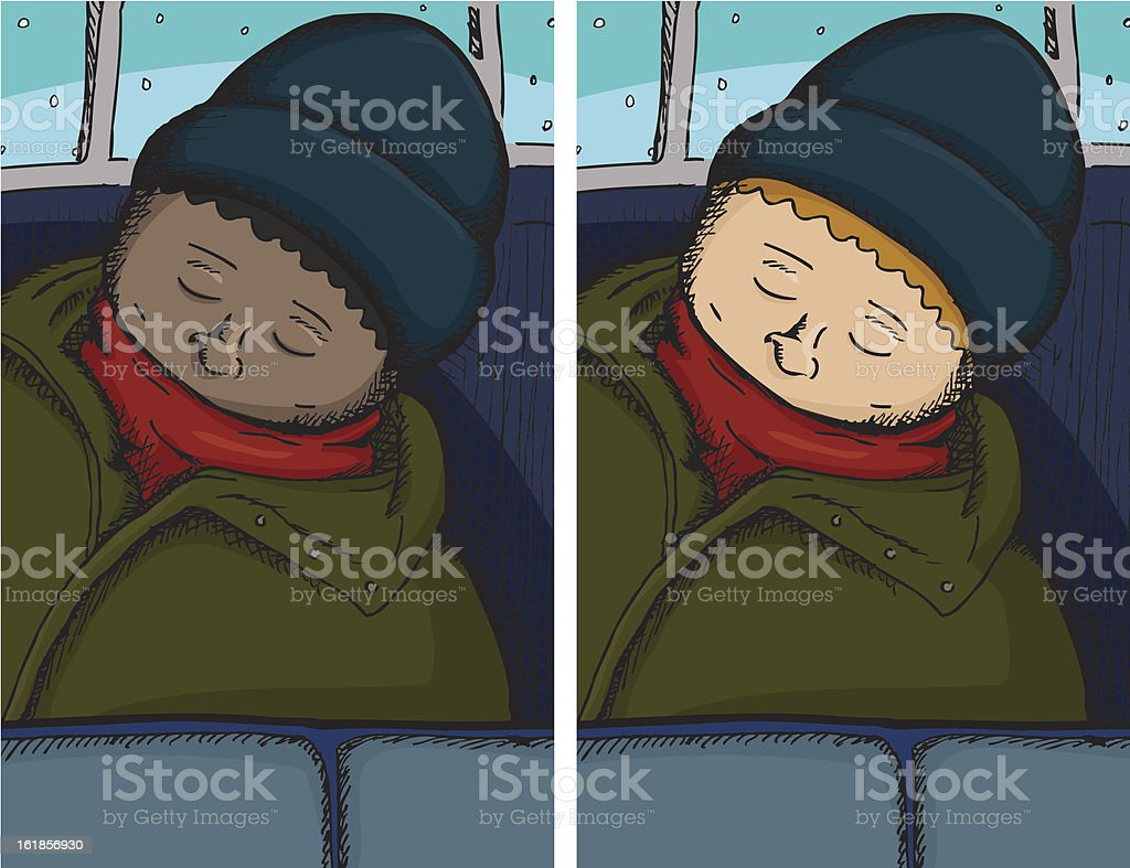 Person Asleep on Bus royalty-free stock vector art