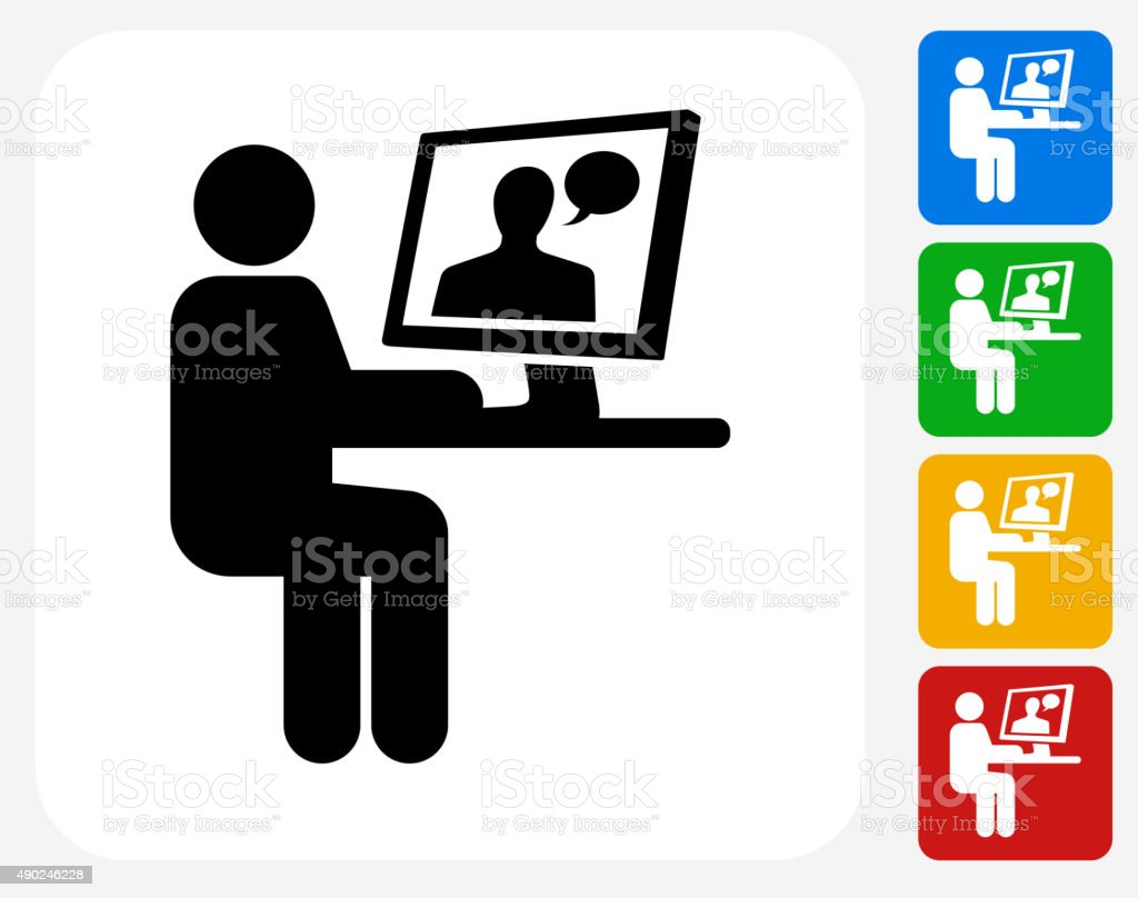 Person Chatting on Computer Icon Flat Graphic Design vector art illustration