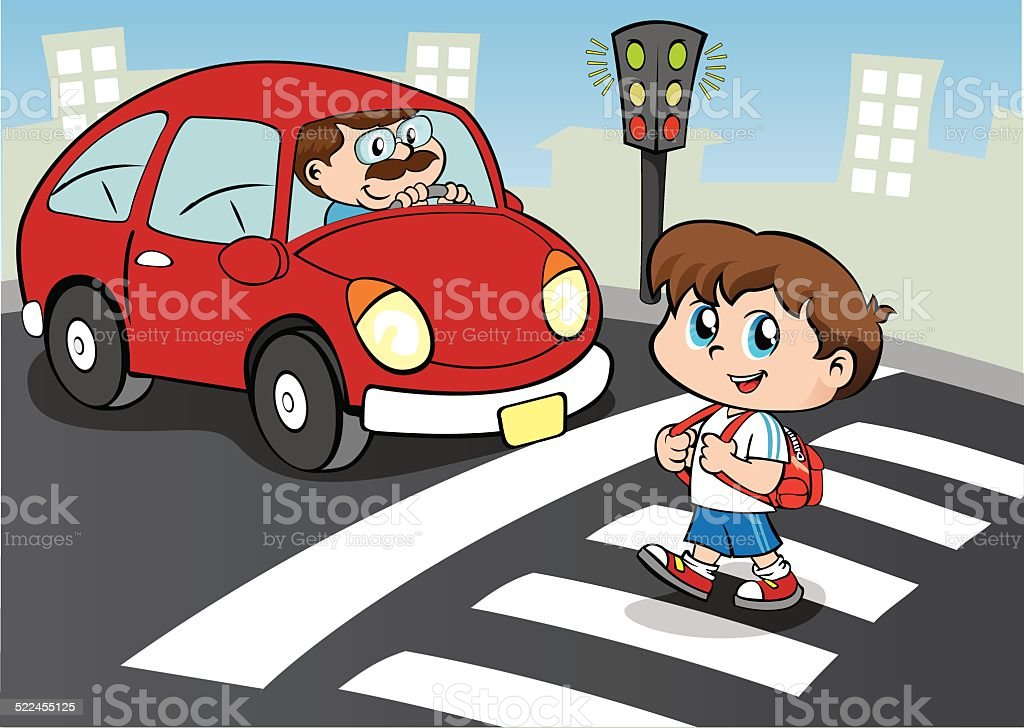 Person child crossing the street in the crosswalk, still waiting car vector art illustration