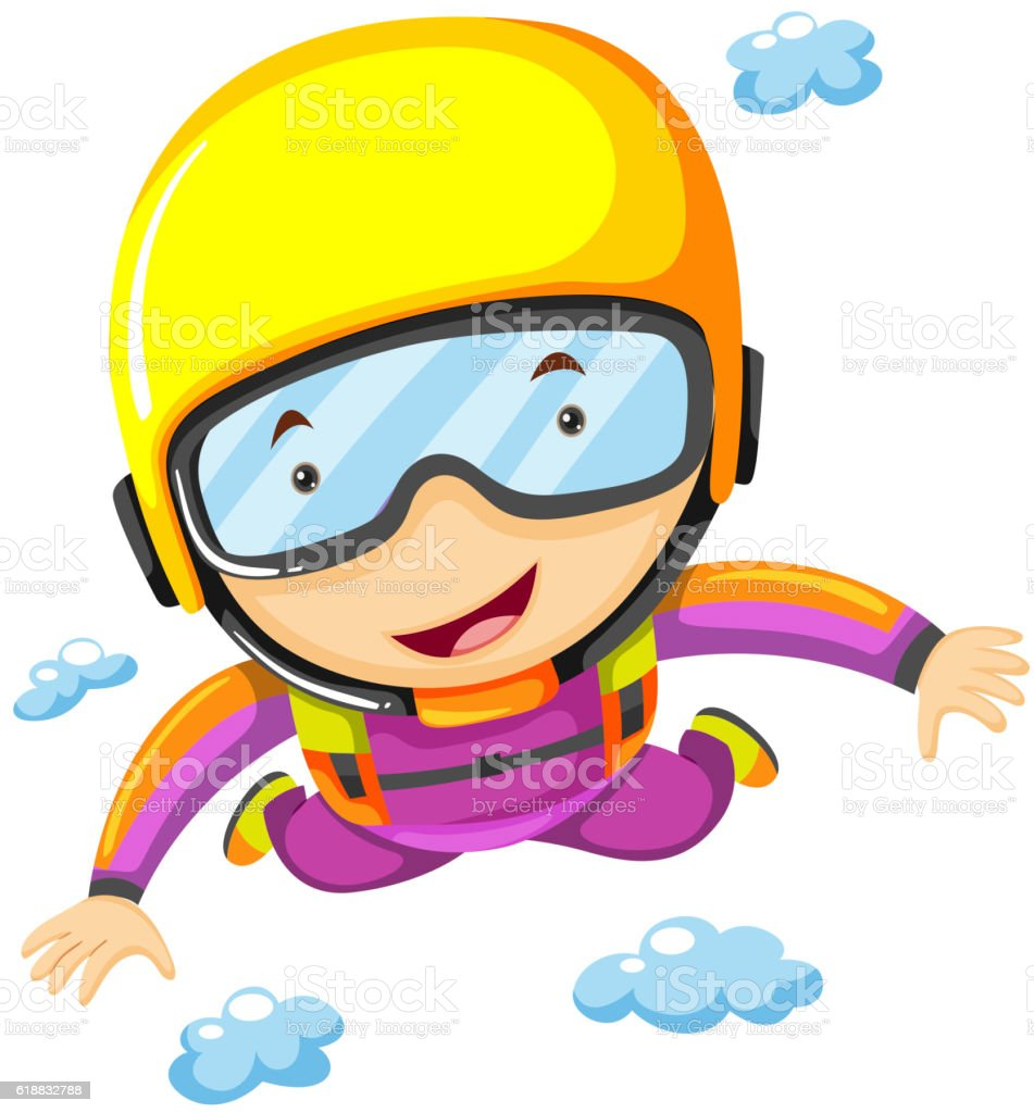 Person doing sky diving alone vector art illustration