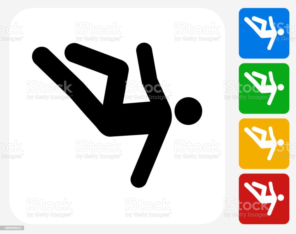 Person Falling Icon Flat Graphic Design vector art illustration