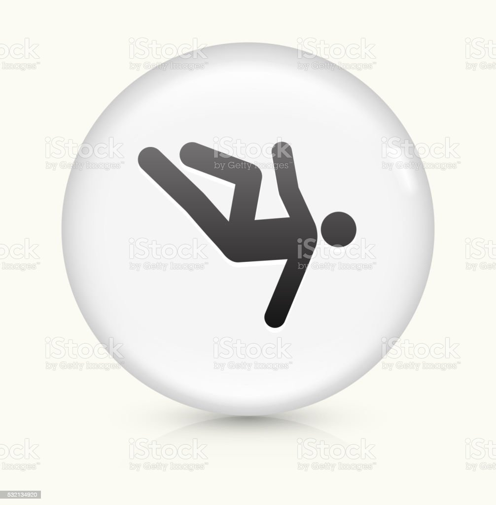 Person Falling icon on white round vector button vector art illustration