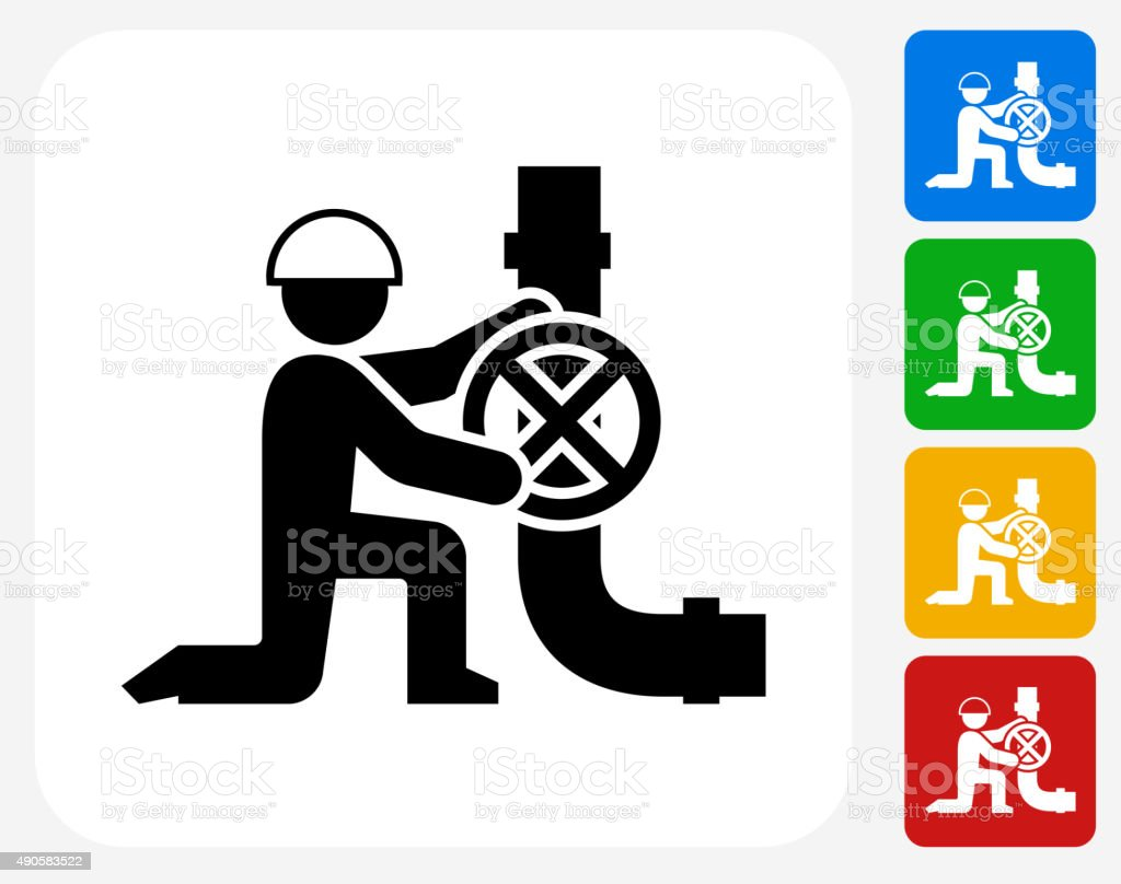Person Fixing Pipes Icon Flat Graphic Design vector art illustration
