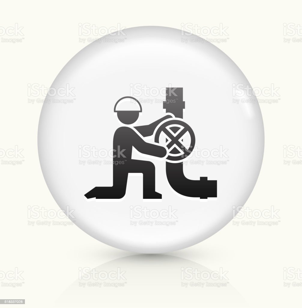 Person Fixing Pipes icon on white round vector button vector art illustration
