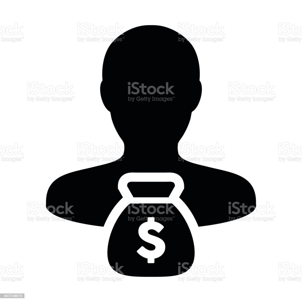 Person Icon Vector With Money Bag Dollar Male Avatar Symbol in Glyph Pictogram vector art illustration
