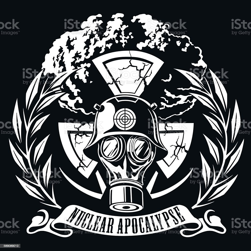 person in a gas mask  atomic explosion, wreath, vector illustration vector art illustration