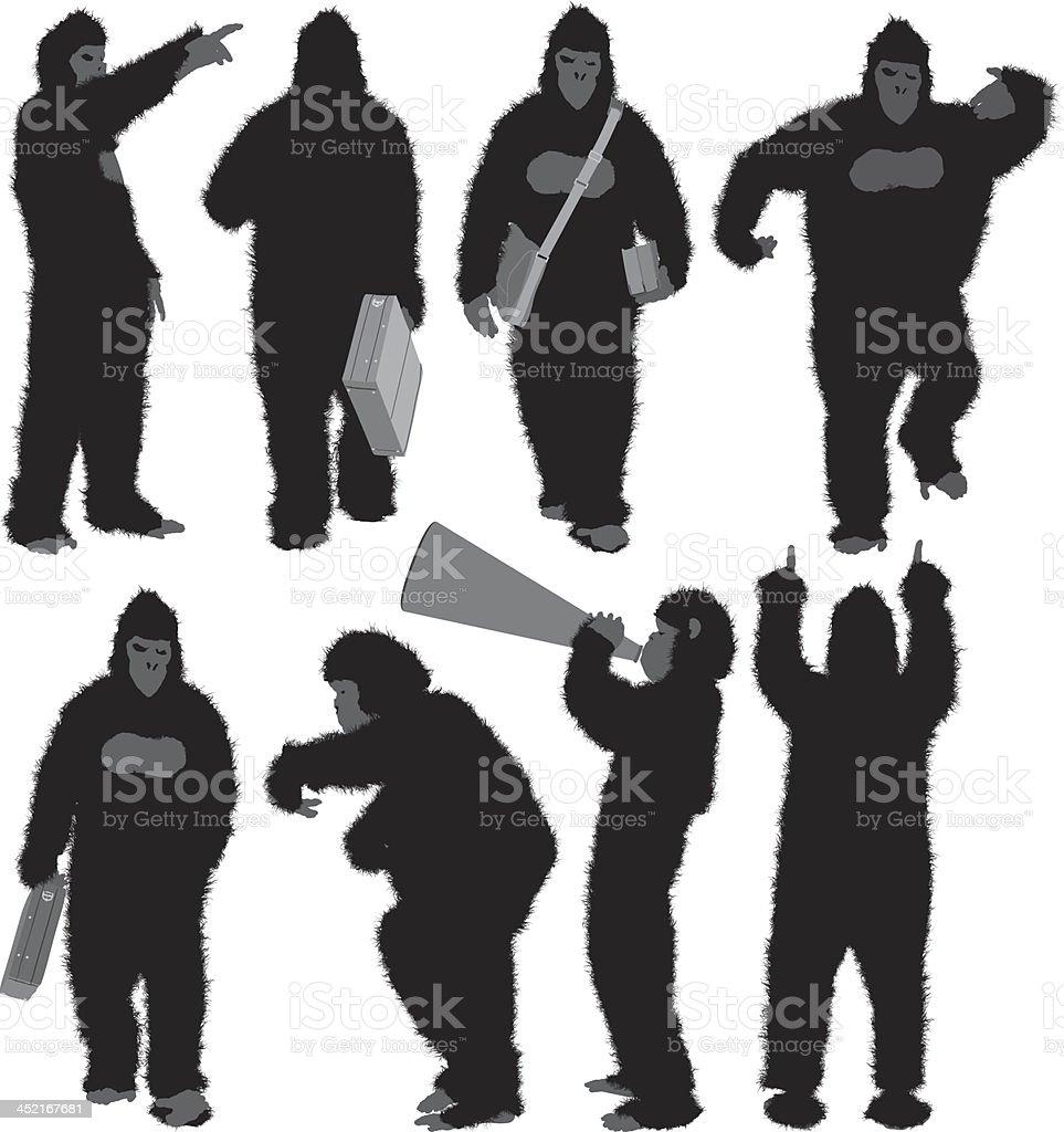 Person in gorilla costume royalty-free stock vector art