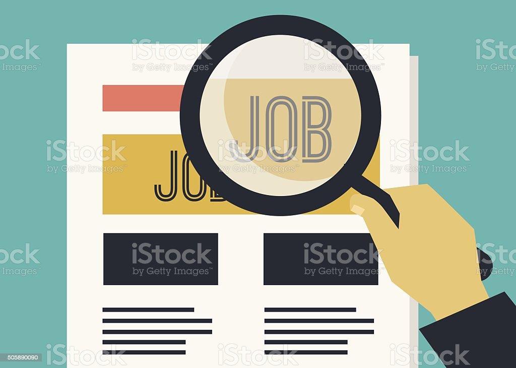 Person in job search vector art illustration